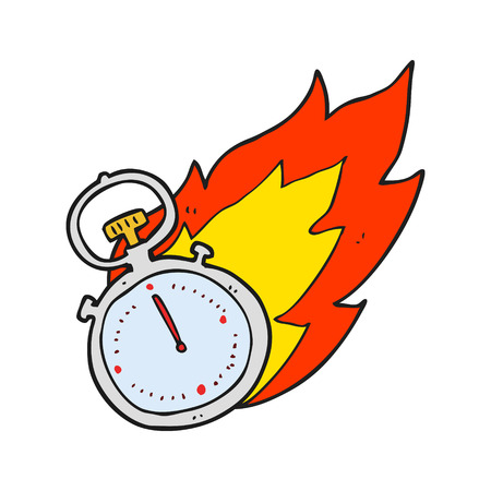 stop watch: freehand drawn cartoon flaming stop watch