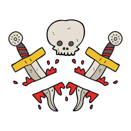 dagger tattoo: freehand drawn cartoon dagger tattoo Illustration