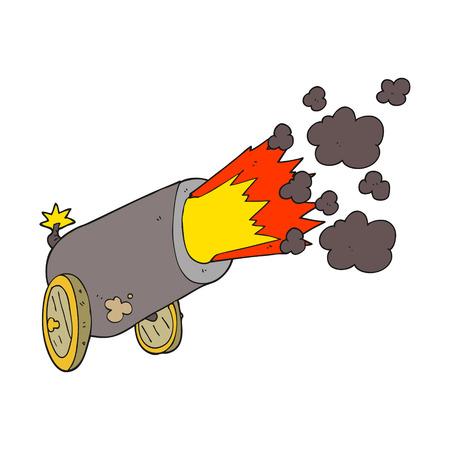 firing: freehand drawn cartoon big cannon firing