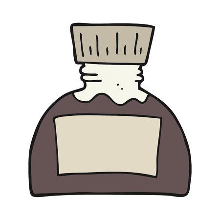 ink pot: freehand drawn cartoon ink pot