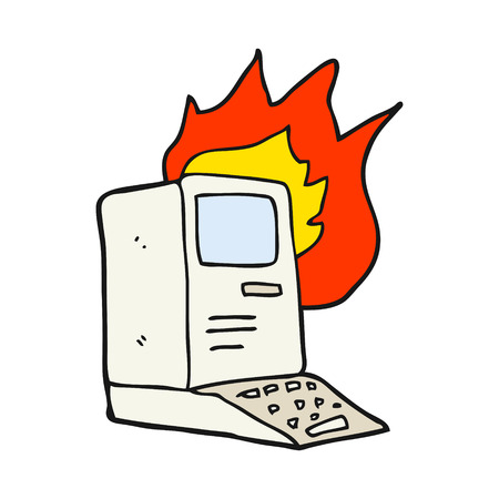 out dated: freehand drawn cartoon old computer on fire