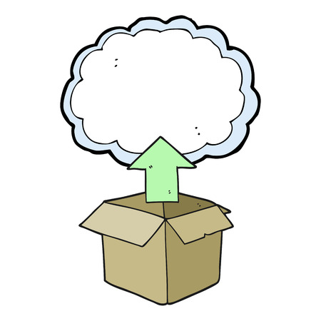 unpacking: freehand drawn cartoon upload to the cloud Illustration