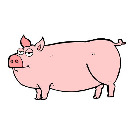 huge: freehand drawn cartoon huge pig
