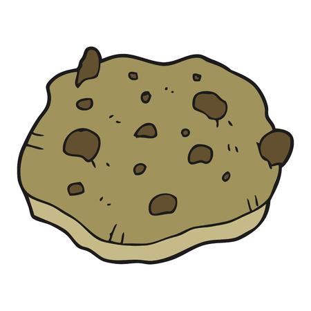 chocolate chip: freehand drawn cartoon chocolate chip cookie Illustration
