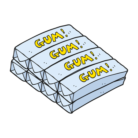 chewing: freehand drawn cartoon chewing gum