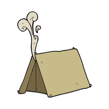 smelly: freehand drawn cartoon old smelly tent