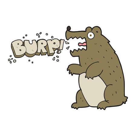 burping: freehand drawn cartoon bear