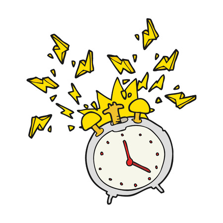 ringing: freehand drawn cartoon ringing alarm clock Illustration