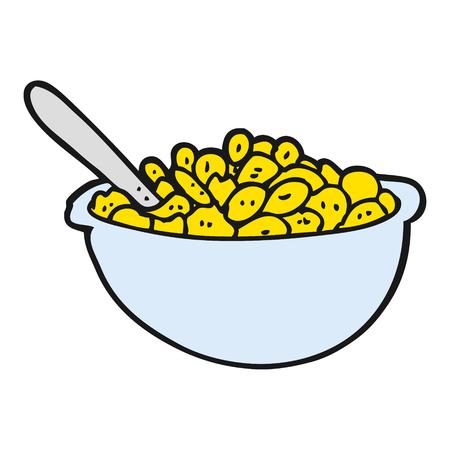 uit de vrije hand getekende cartoon kom ontbijtgranen Stock Illustratie