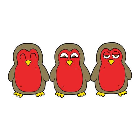 robins: freehand drawn cartoon christmas robins holding hands