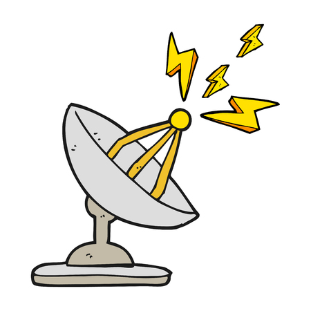 dish: freehand drawn cartoon satellite dish Illustration
