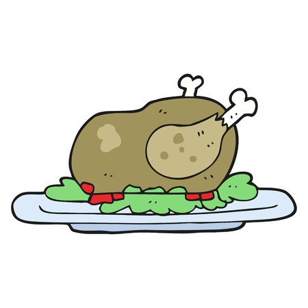 cooked: freehand drawn cartoon cooked turkey