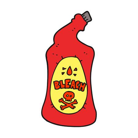 uit de vrije hand getekende cartoon bleekmiddel fles