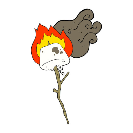 odręczne rysowane kreskówki tostowy marshmallow