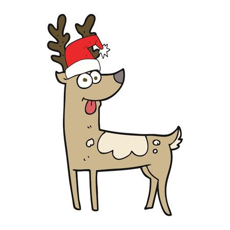 crazy: freehand drawn cartoon crazy reindeer