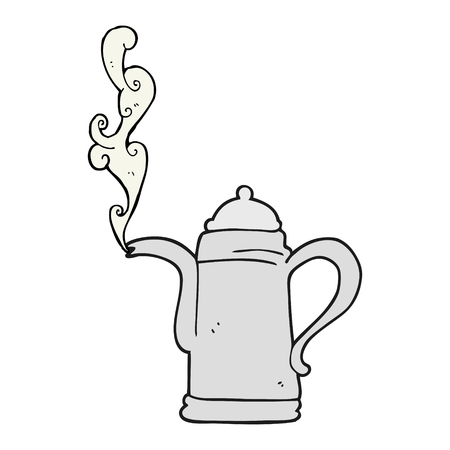 steaming: freehand drawn cartoon steaming coffee kettle