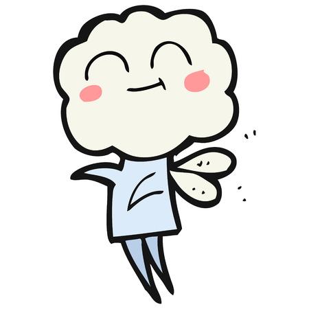 imp: freehand drawn cartoon cute cloud head imp
