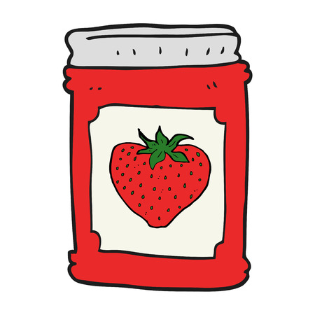 strawberry jam: freehand drawn cartoon strawberry jam jar