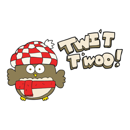 twit: freehand drawn cartoon cute owl saying twit twoo