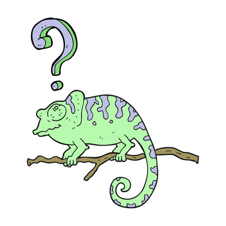 curious: freehand drawn cartoon curious chameleon Illustration