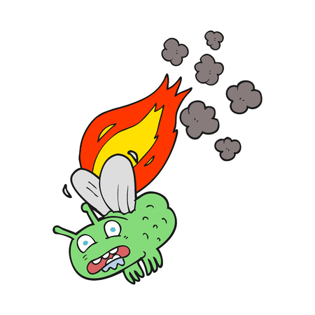 burning: freehand drawn cartoon fly crashign and burning Illustration
