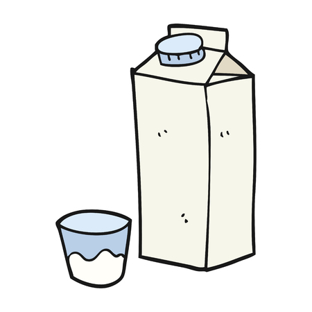 freehand drawn cartoon milk carton  イラスト・ベクター素材