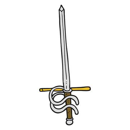 fencing sword: freehand drawn cartoon sword