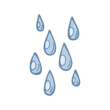 freehand drawn cartoon raindrops Illustration