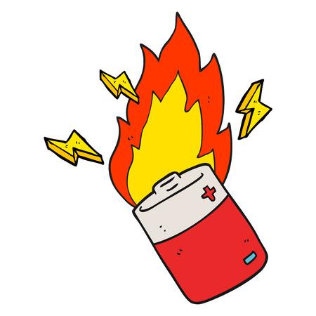 flaming: freehand drawn cartoon flaming battery
