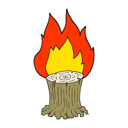 burning: freehand drawn cartoon big tree stump on fire