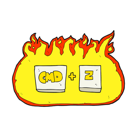 function key: freehand drawn cartoon command Z function Illustration