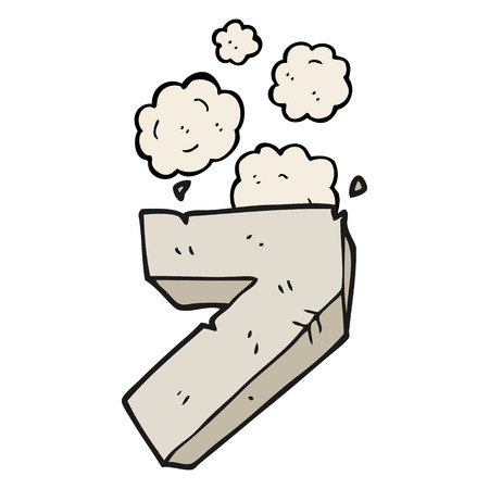 numbers clipart: freehand drawn cartoon stone number seven