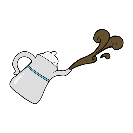 pouring: freehand drawn cartoon coffee pot pouring Illustration