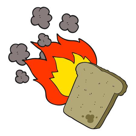 burnt toast: freehand drawn cartoon burnt toast