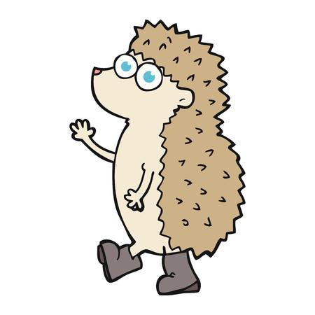 cute cartoon: cute freehand drawn cartoon hedgehog Illustration