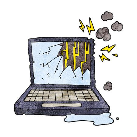 broken computer: freehand textured cartoon broken computer