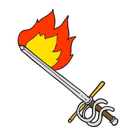 flaming: freehand drawn cartoon flaming sword Illustration