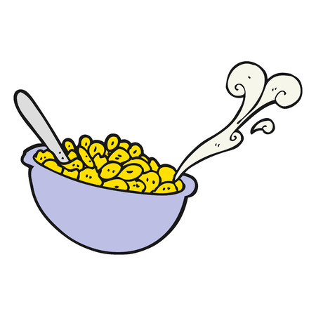 cereal bowl: freehand drawn cartoon bowl of cereal