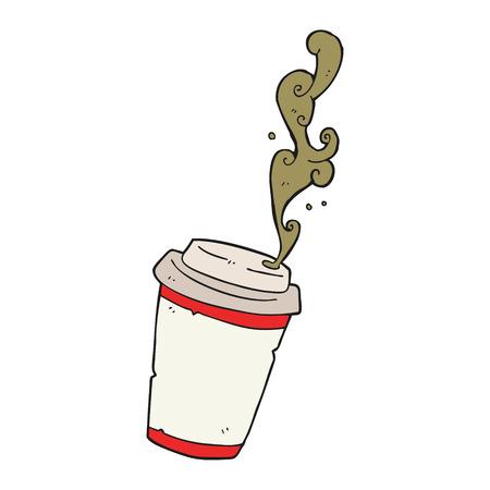 take out food: freehand drawn cartoon take out coffee