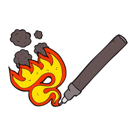 flaming: freehand drawn cartoon flaming pen