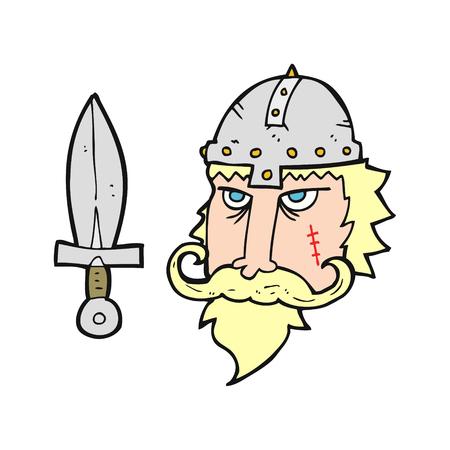 saxon: freehand drawn cartoon viking warrior