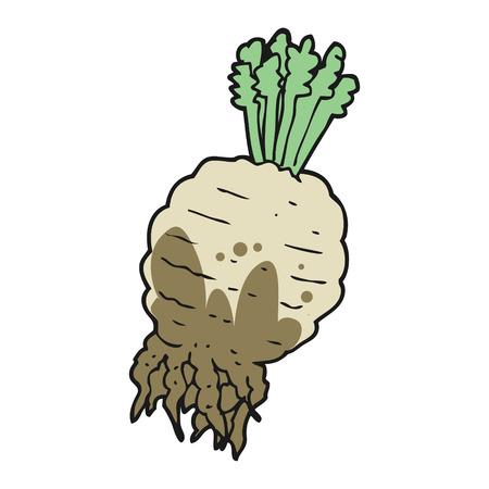 muddy: freehand drawn cartoon muddy turnip