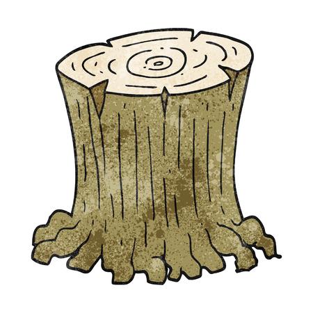 large tree: freehand textured cartoon big tree stump Illustration