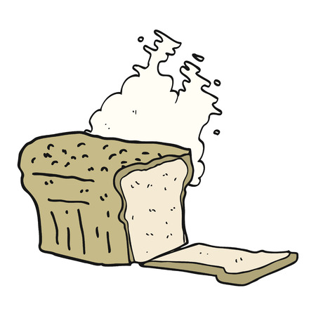 baked: freehand drawn cartoon fresh baked bread