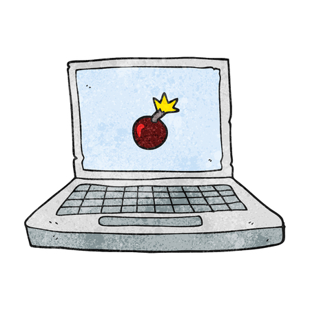 cartoon bomb: freehand textured cartoon laptop computer with bomb symbol Illustration