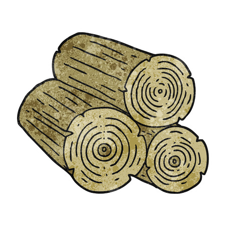 logs: freehand textured cartoon logs Illustration