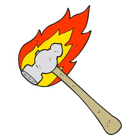 flaming: freehand drawn cartoon flaming hammer Illustration