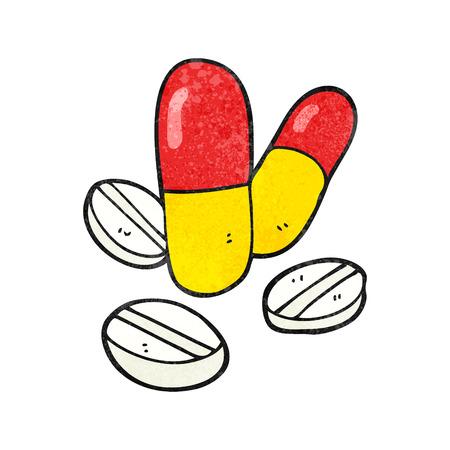 painkiller: freehand textured cartoon pills Illustration