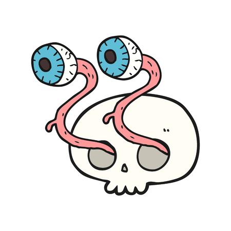 eyeballs: gross freehand drawn cartoon skull with eyeballs