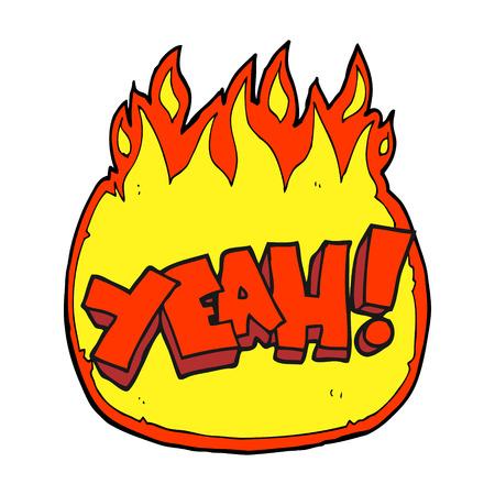 yeah: yeah! freehand drawn cartoon shout